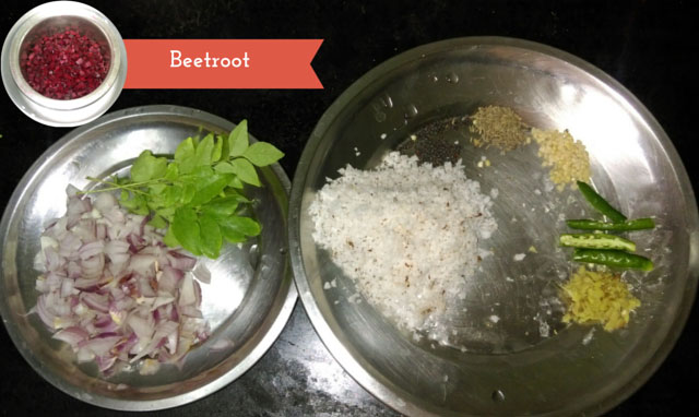Beetroot Poriyal Recipe ingredients