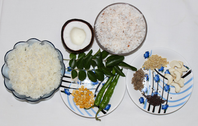 Grated Coconut Rice Recipe-Main ingredients