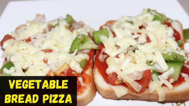 Vegetable bread pizza without Oven